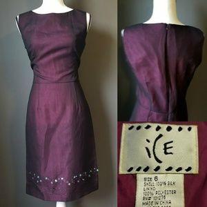 ICE Dark plum Silk Work Dress